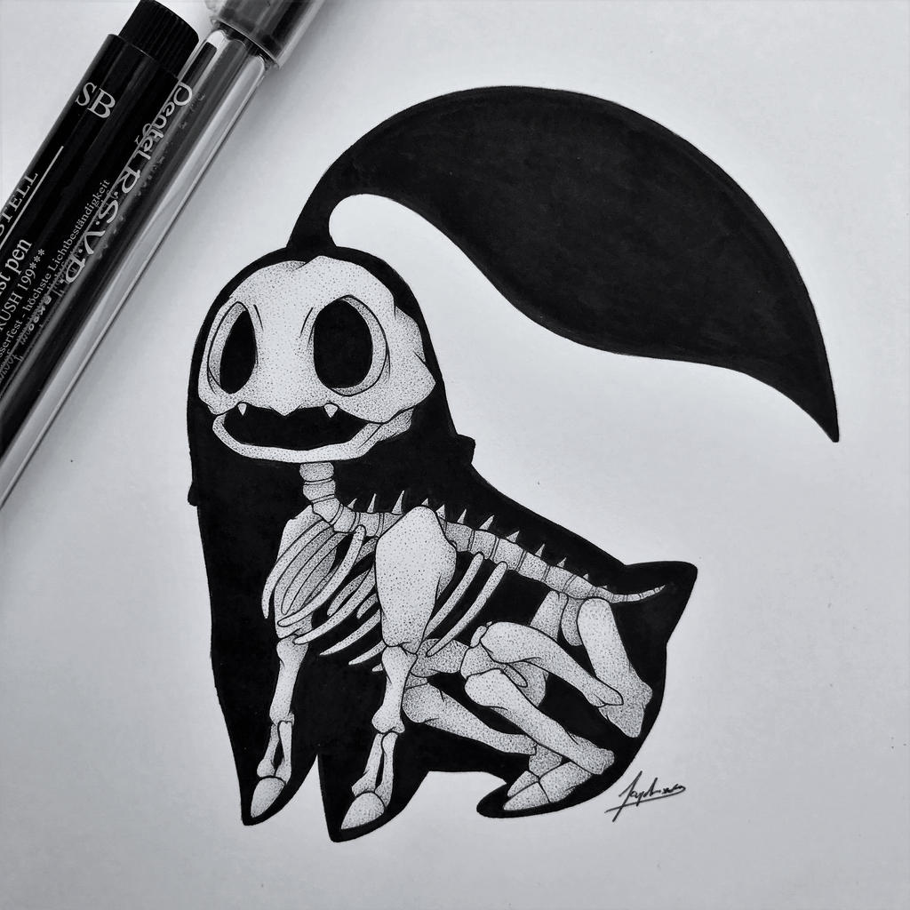 Skeletal Chikorita by WolfJayden