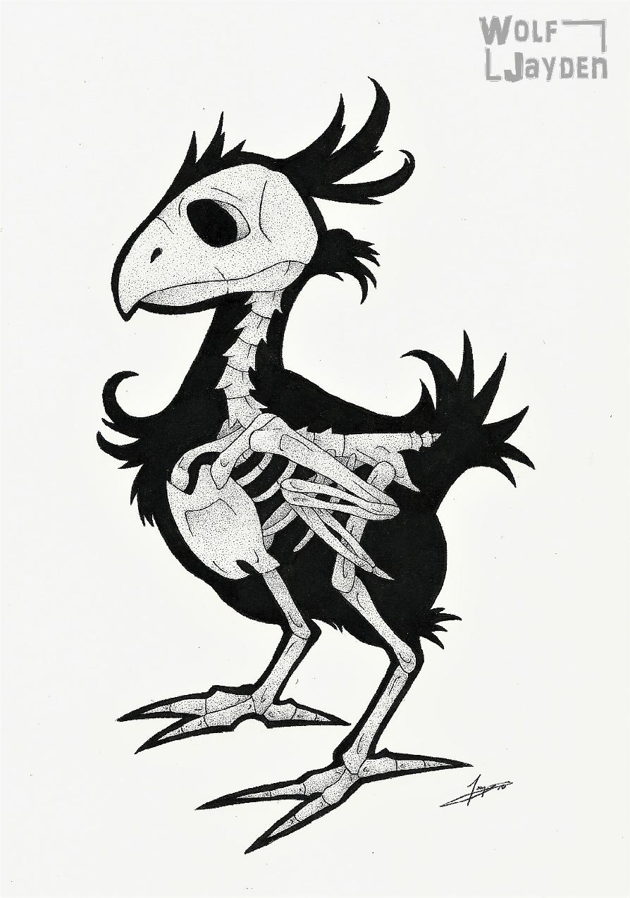 Skeletal Chocobo by WolfJayden