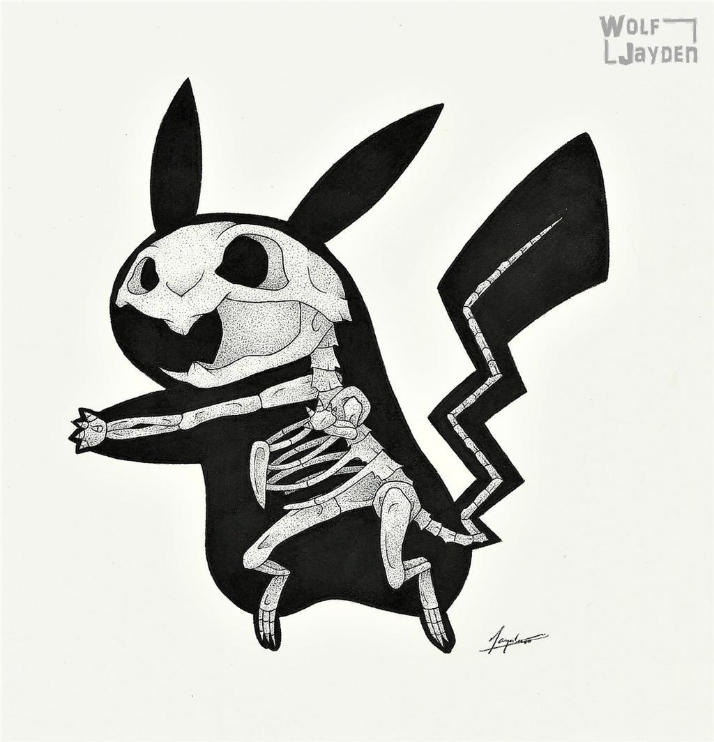 Skeletal Pikachu by WolfJayden