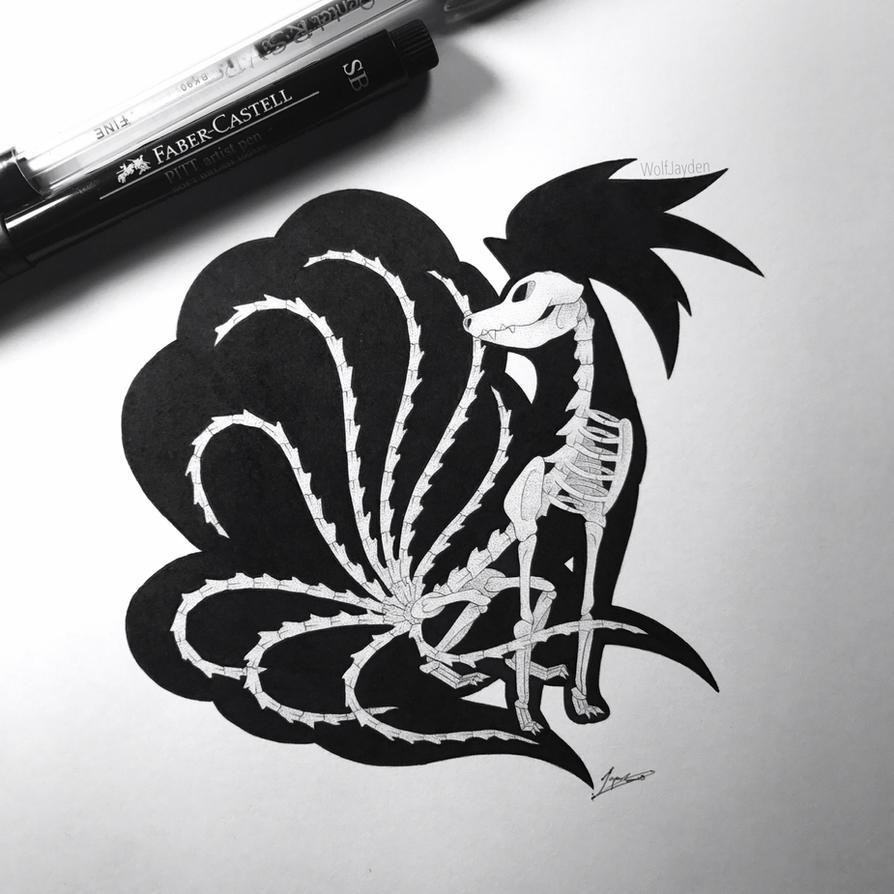 Skeletal Ninetales by WolfJayden