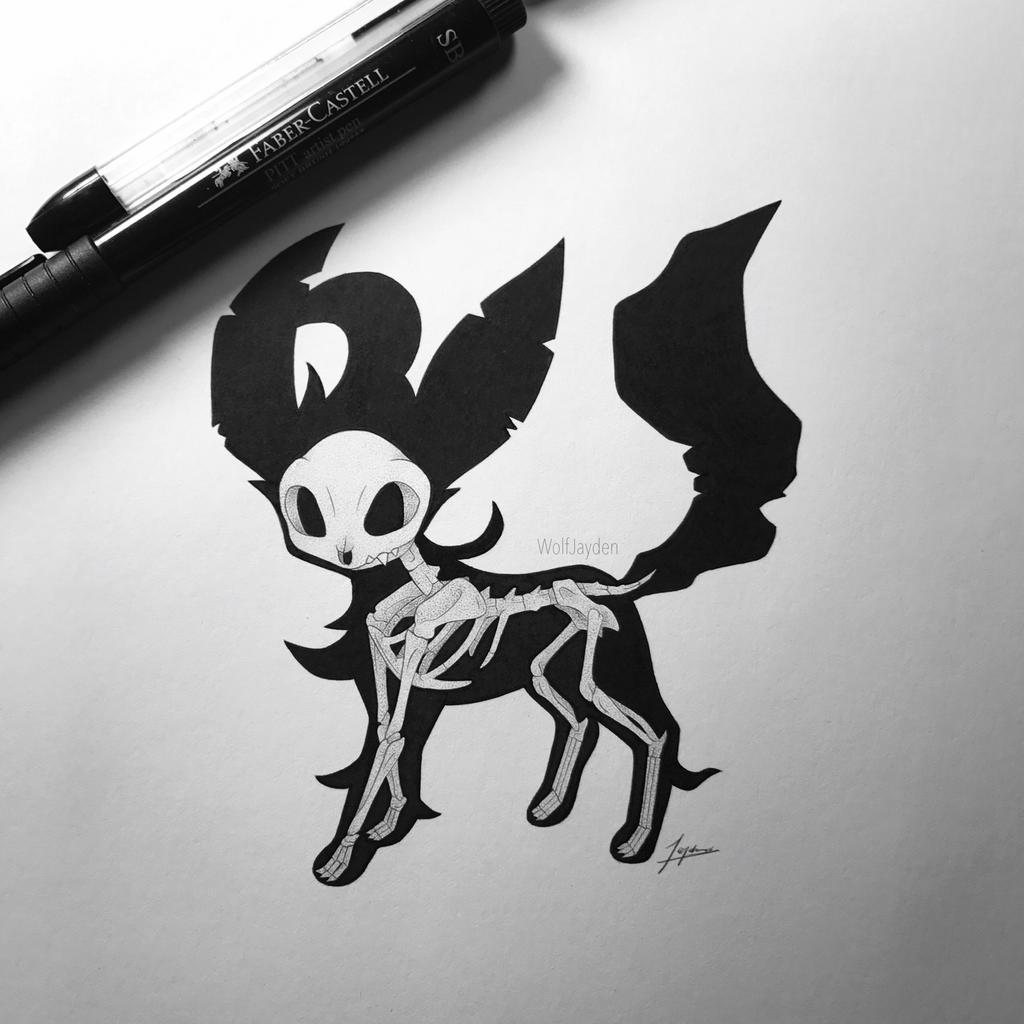 Skeletal Leafeon by WolfJayden