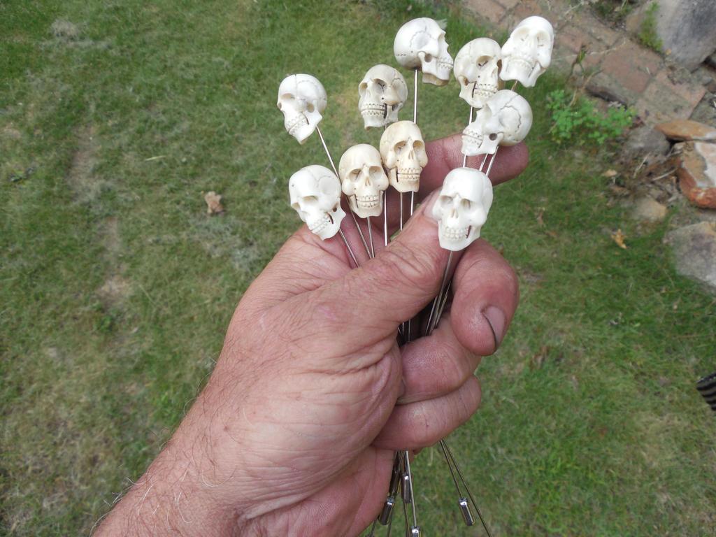 Carved Skull hatpins carved of antler by WillKing156