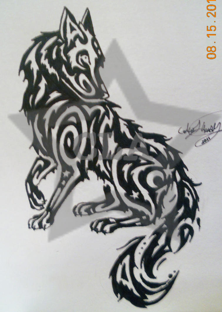 tribal wolf tattoo by 3nergized on deviantart. Black Bedroom Furniture Sets. Home Design Ideas