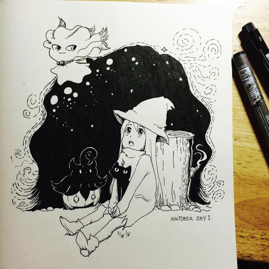 Inktober Day 1: Spoopy is Here by emilialight