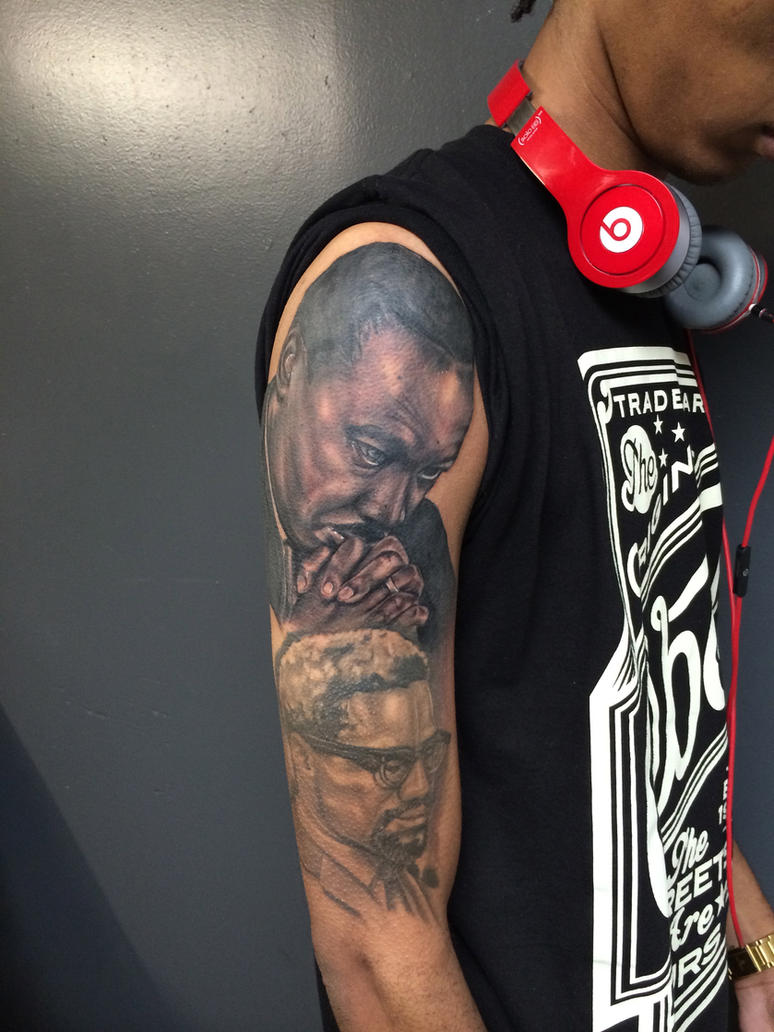 Amani tre niner martin luther king malcom x tatto by for Nas malcolm x tattoo