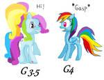 Mlp: G4 RainbowDash meets G3.5 RainbowDash