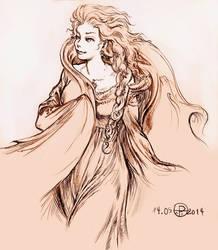 Queen Elsa line art II by phallusdei