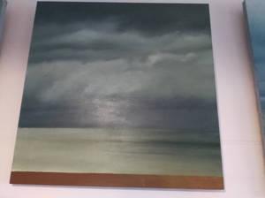 cloudy sky over the calm seas surface