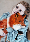 Woman and fox