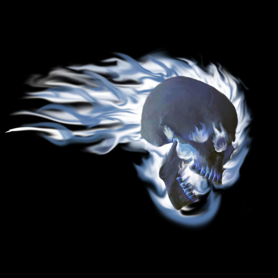 blue flames skull flame - photo #13
