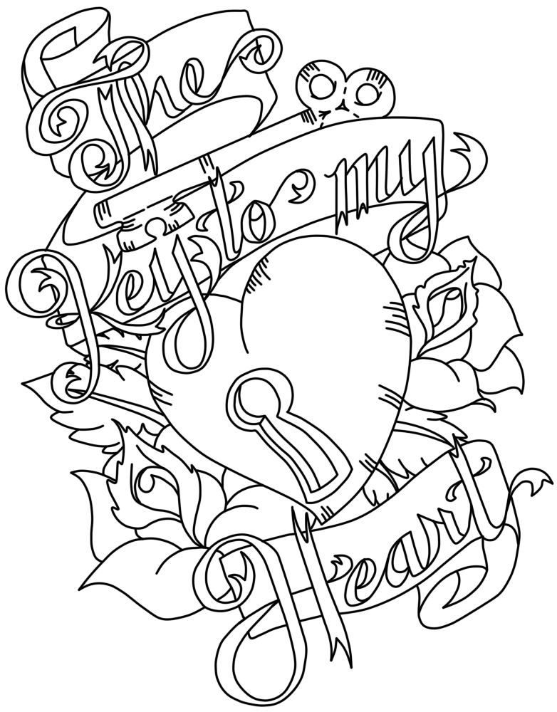 Key to my heart by rhiannonhasregrets on deviantart for Key coloring page