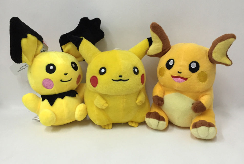 Pichu, Pikachu and Raichu Plush by CatCamellia on DeviantArt