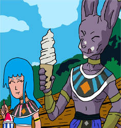 Beerus and Camellia eating ice cream