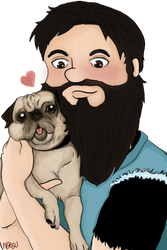 A man and his pug by Natshue