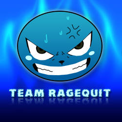 Team Ragequit logo v6 - Happy - Blue - Flames by KingS1ngh