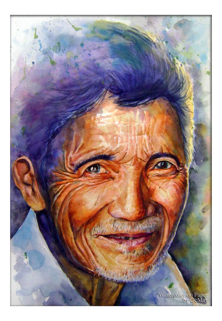 Watercolor Old Man Portrait by OCMay