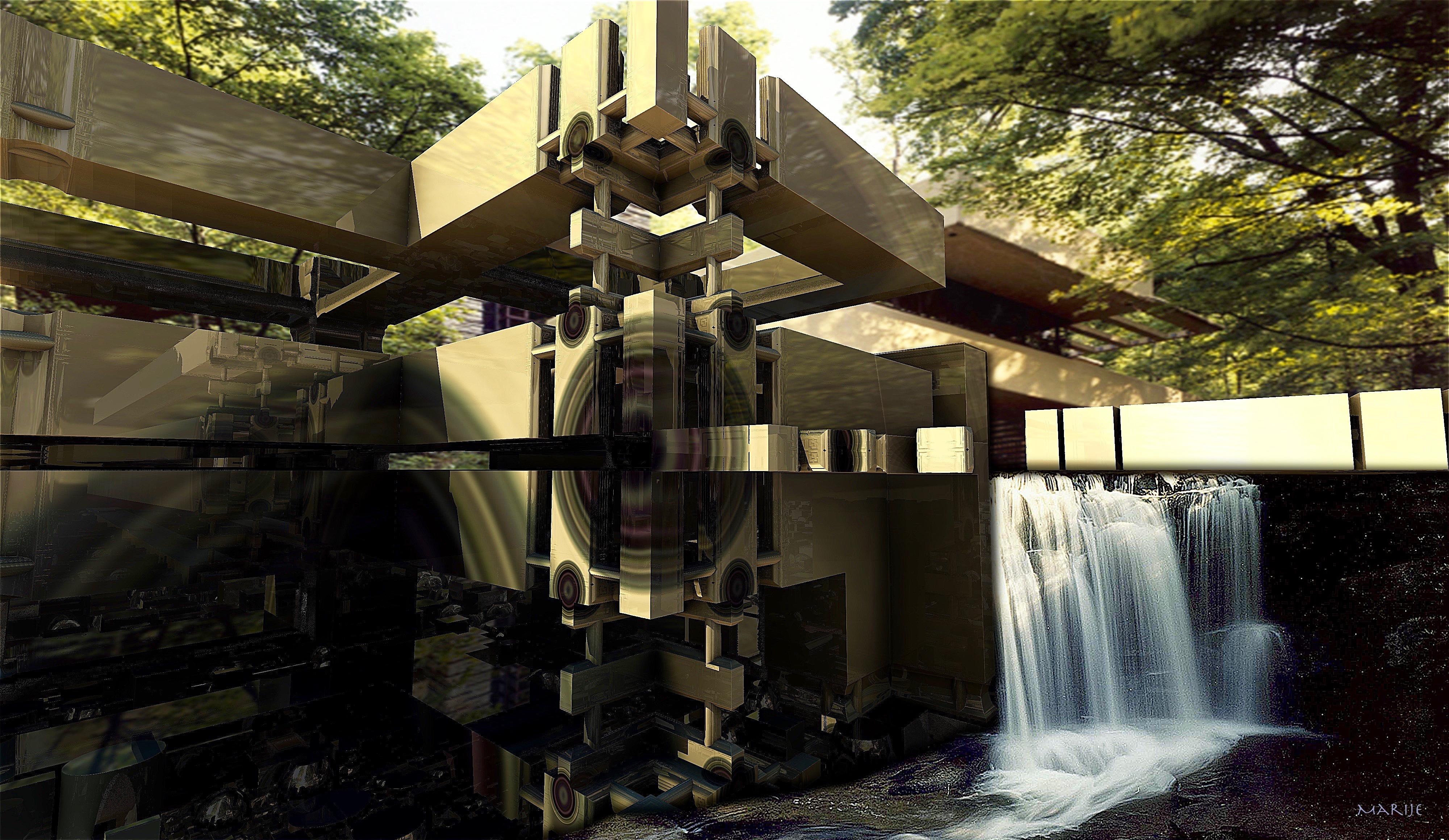 Fallingwater House Frank Lloyd Wright By Marijeberting On