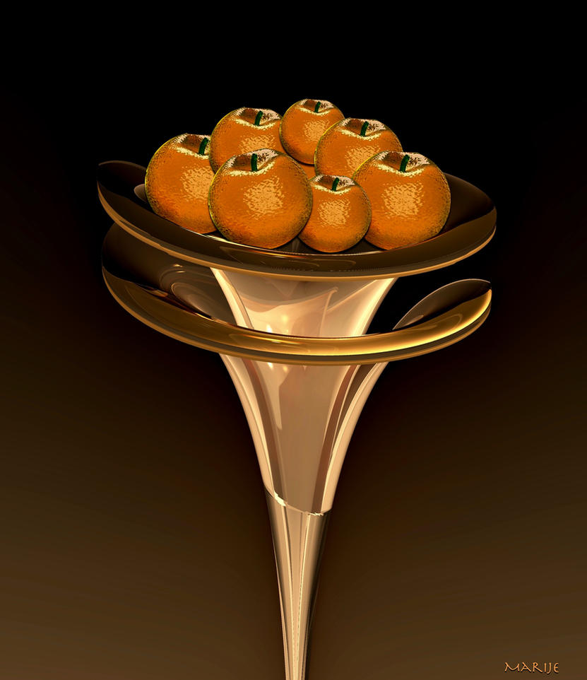 For Gudrun: Glass fruit bowl with glass oranges by marijeberting