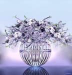 Flower arranging in glass vase