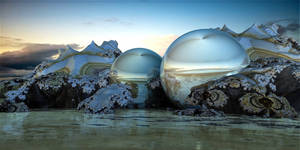 Fully enclosed aquatic ecosystems in glass balls