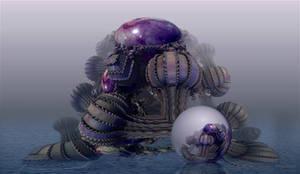 Jellyfish with egg by marijeberting