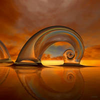 Seashell Sculpture at sundown by marijeberting