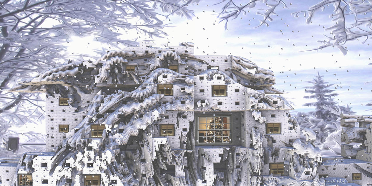 House in the snow by marijeberting