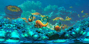Coral Reef with fractal fishes