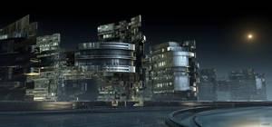 Industrial Park in the moonlight