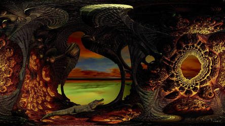 Crocodile swamp at sunset by marijeberting