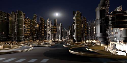 Future city by night