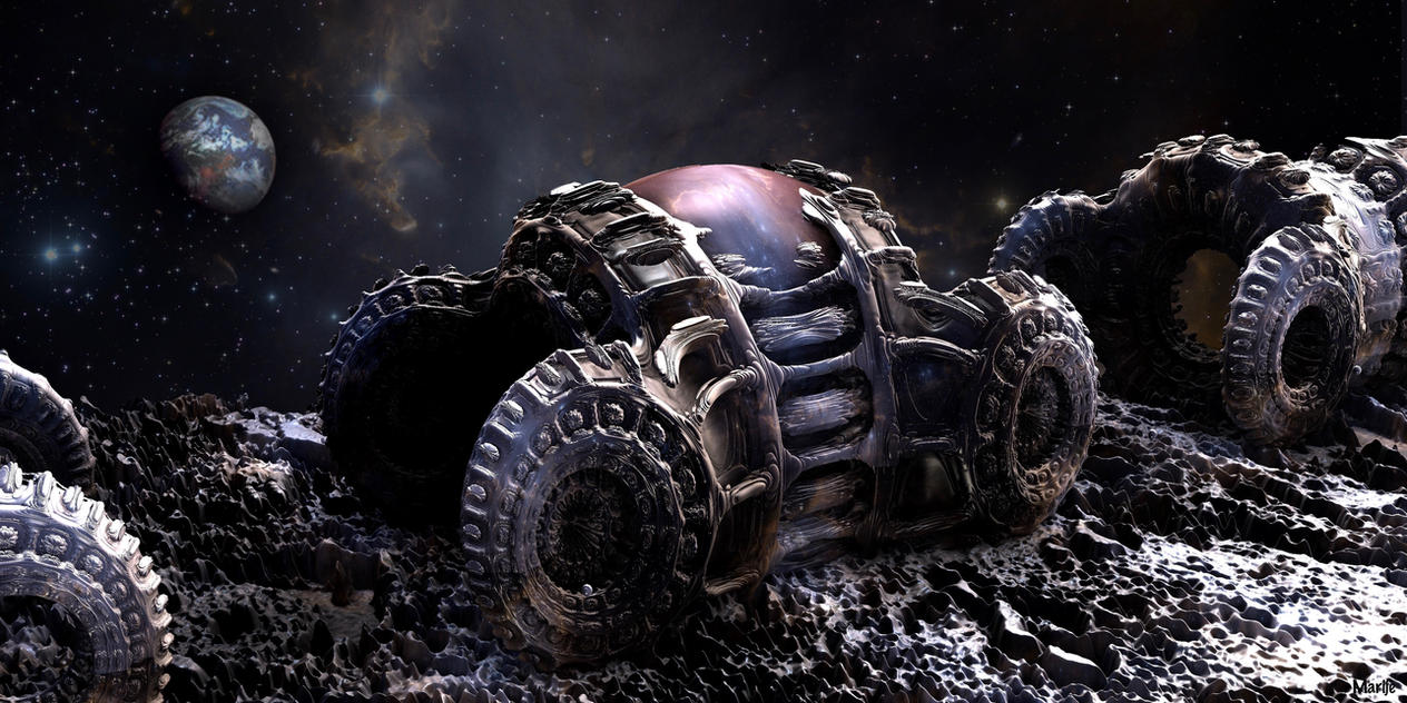 Space Cars on the Moon by marijeberting