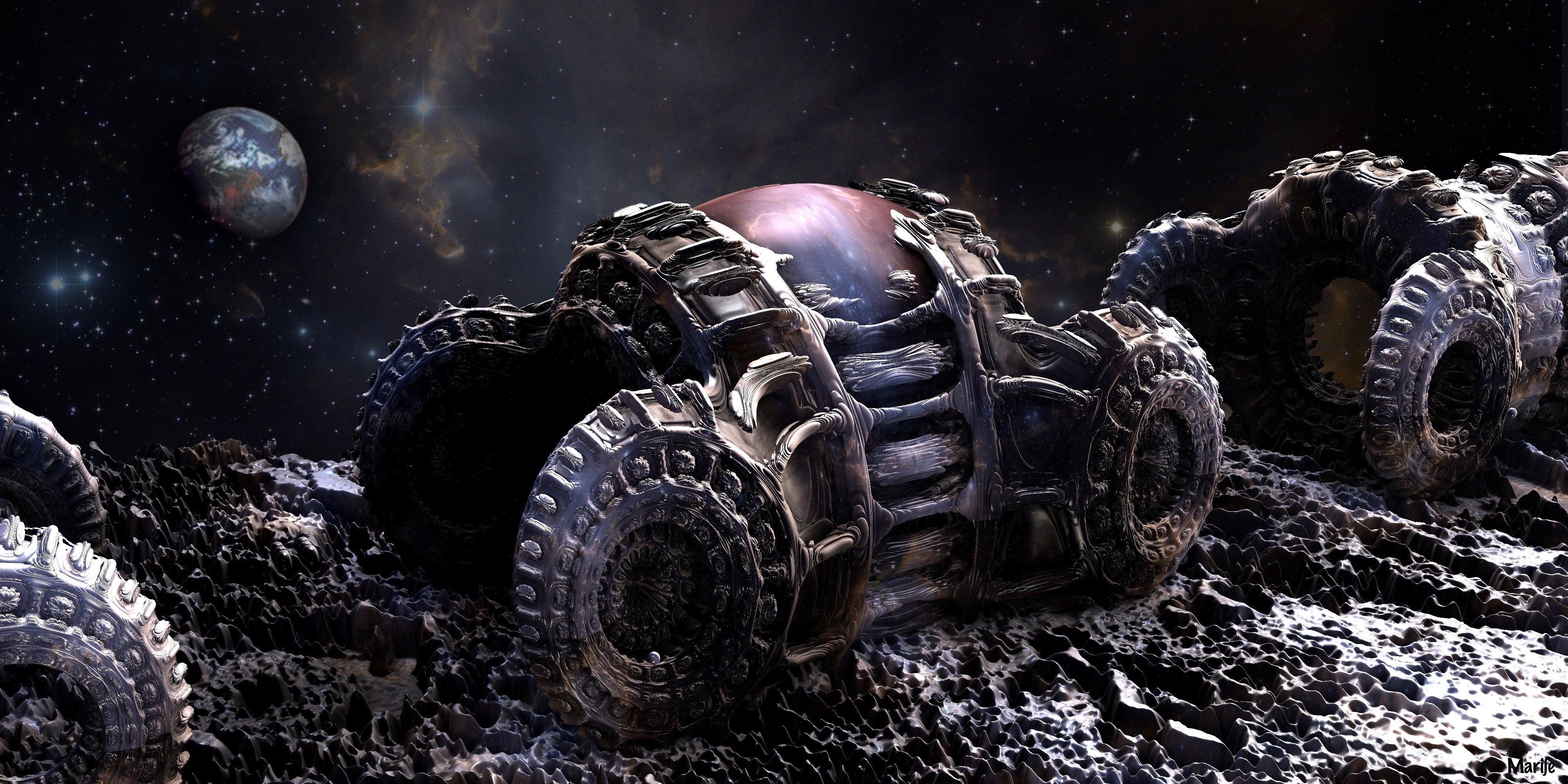 Space Cars on the Moon