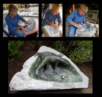 Stone carving a water bath with salamander by marijeberting