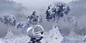 Snowman in snowy landscape