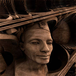 Wood carved sculpture of Nefertiti
