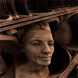 Wood carved sculpture of Nefertiti by marijeberting