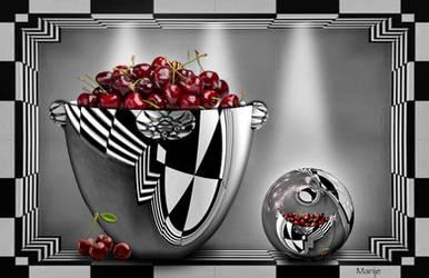 A bowl (inside sphere) of cherries by marijeberting