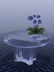 Glass table with fractal flowers by marijeberting