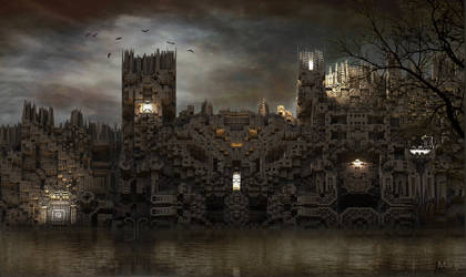 Castle on the lake at sundown ... by marijeberting