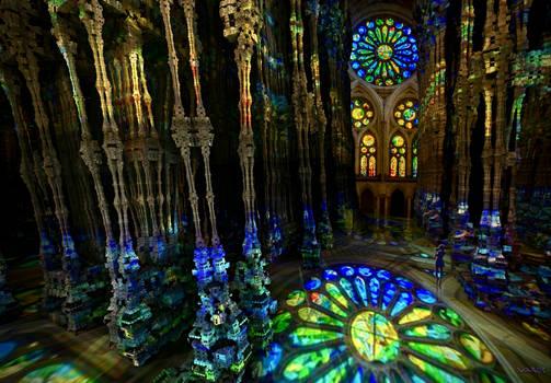 Reflection Rose Window in Sagrada Familia Gaudi ..