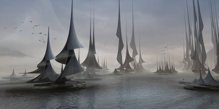 Sailing boats in stormy weather ...