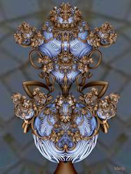 Porcelain cassolette with bronze decorations ...