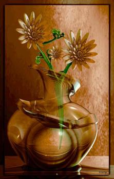 Sunflowers in glass vase ...