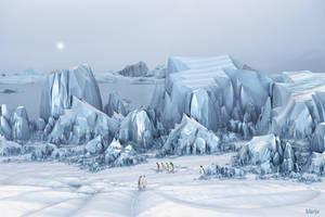 Arctic landscape with king penguins ...