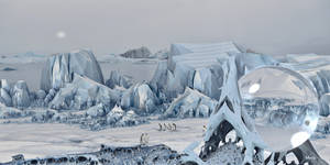 Icy Mountains with King Penguins ...