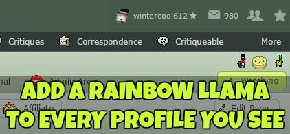 Rainbow Llama Badge Browser Script by wintercool612