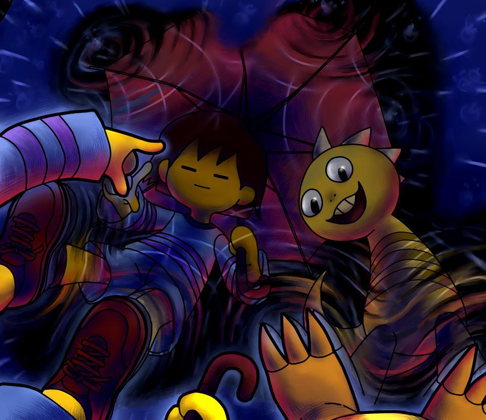 UNDERTALE fanart: Frisk and Monster Kid by BlackenWhiteCat