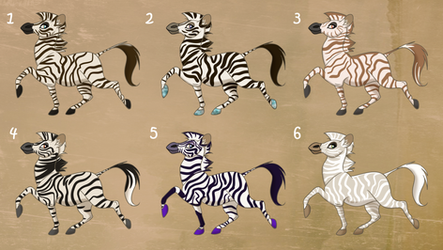 Zebra Adopts - 4/6 OPEN -  $4/400 points or less by Nala15