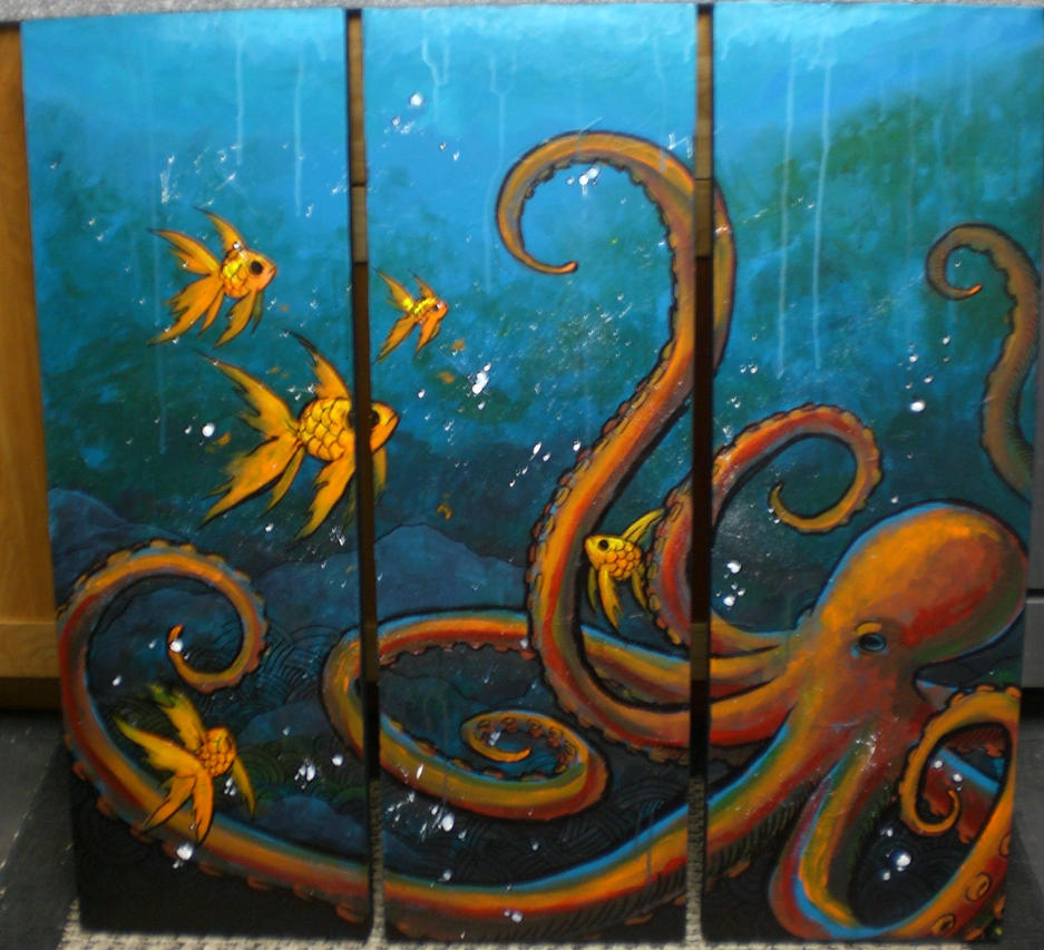 Octopus 39 s garden by jackiethepirate on deviantart for Colorful octopus painting